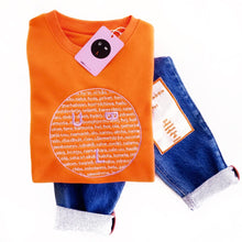 Load image into Gallery viewer, 'LANGUAGE' ORANGE SWEATSHIRT - BULB LONDON