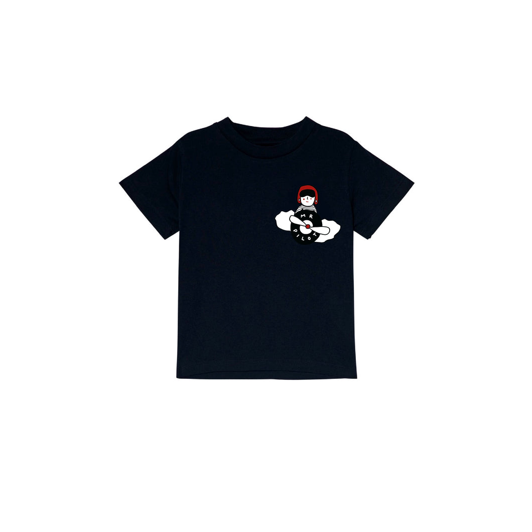 'Mr Pilot' Black T-shirt - BULB LONDON