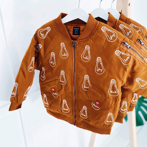 'Bulb' Brown Bomber Jacket