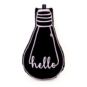 'hello' bulb cushion