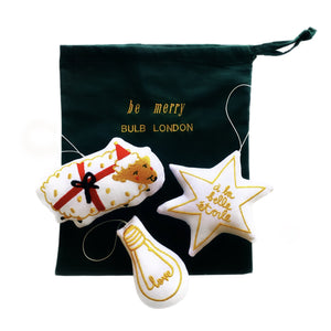 "'be merry' decors set of 3 ""White/Gold"" - BULB LONDON"