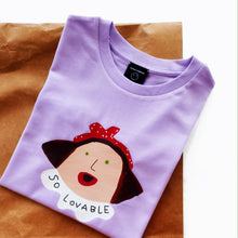 Load image into Gallery viewer, 'SO LOVABLE' LILAC T-SHIRT - BULB LONDON