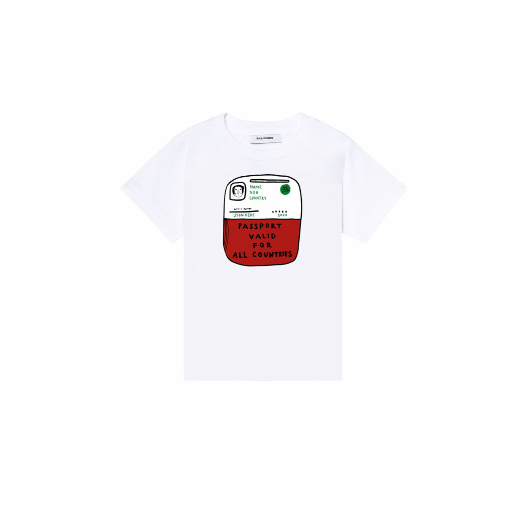 'Passport' White T-shirt - BULB LONDON