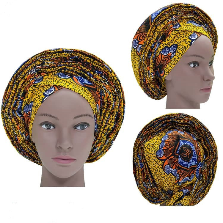Colorful Pre-Made easy pre-tied African Ankara cotton material Headwrap Gele gold yellow orange blue