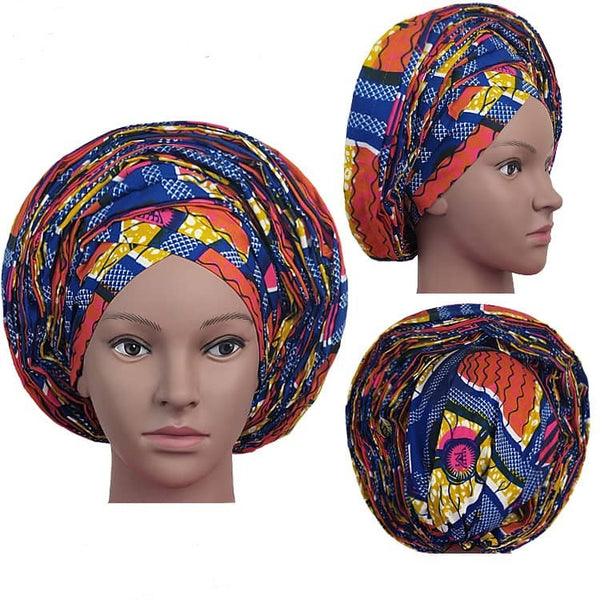 Colorful Pre-Made easy pre-tied African Ankara cotton material Headwrap Gele red blue orange gold white