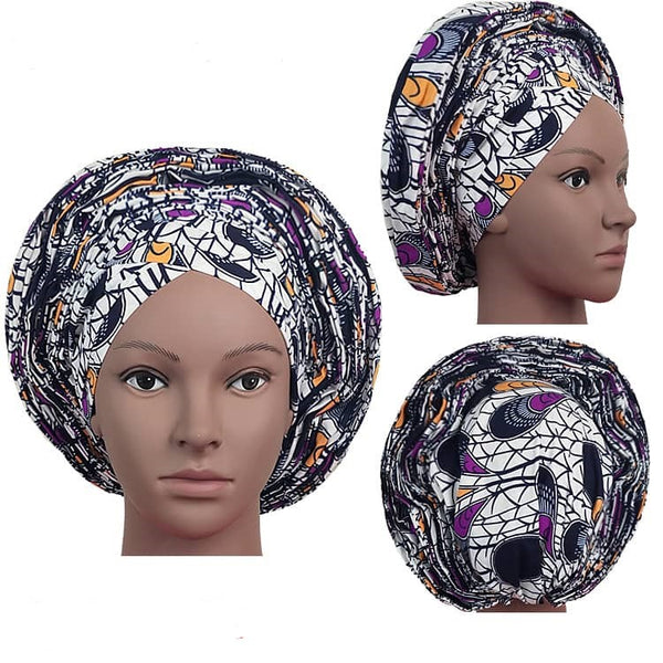 Colorful Pre-Made easy pre-tied African Ankara cotton material Headwrap Gele white purple black orange