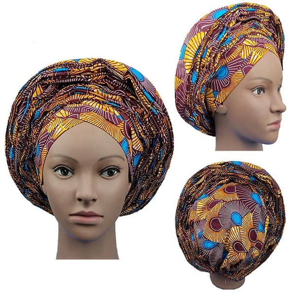 Colorful Pre-Made easy pre-tied African Ankara cotton material Headwrap Gele gold orange sky blue burgundy
