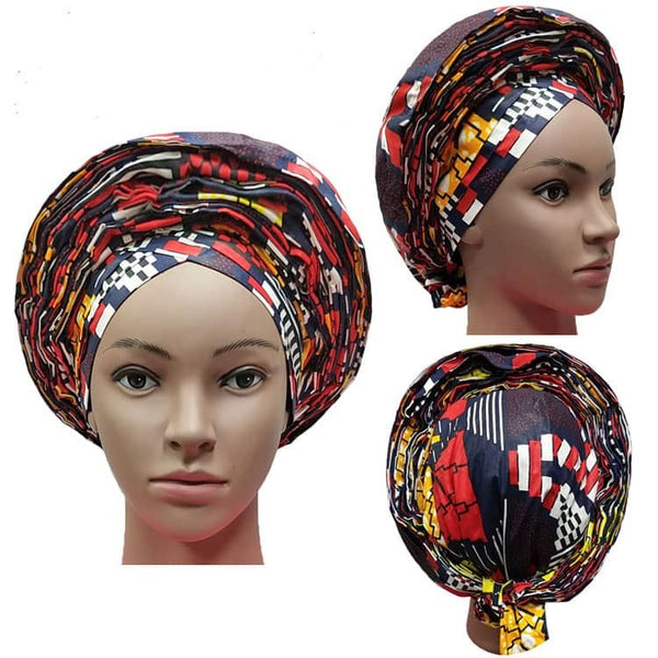 Colorful Pre-Made easy pre-tied African Ankara cotton material Headwrap Gele black white red gold yellow