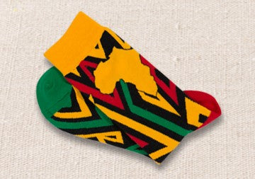 Unisex male female colorful cotton lycra good quality fabric Africa shape design gold yellow red green black socks