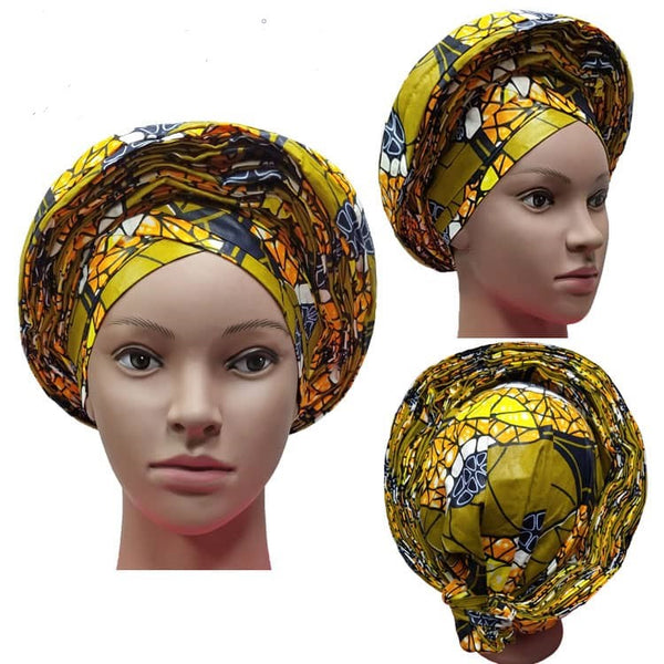 Colorful Pre-Made easy pre-tied African Ankara cotton material Headwrap Gele lime olive green orange black white