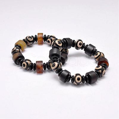 "Natural & Dyed Agate Beads Stretch Bracelets, Tibetan Style dZi Beads Bracelets, with Acrylic Spacer Beads, Mixed Color Size: about 2-1/8""~2-3/8""(55~60mm) inner diameter, beads: 10~16x4~12mm."