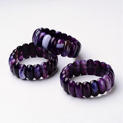 "Natural Agate Beaded Stretch Bracelets, Oval, Purple Size: about 2-1/4""~2-3/8""(57~59mm) inner diameter; Beads: about 24~25x10~11x8~9mm."
