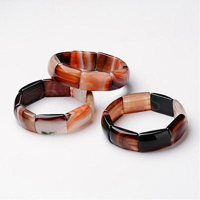 "Natural Agate Stretch Bracelets, Rectangle, Peru Size: about 2-3/8""~2-1/2""(59~61mm) inner diameter; Beads: about 18~19x27~28x8~9mm."