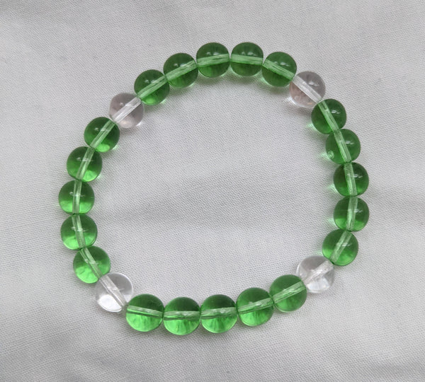 Unisex light green clear glass beads with elastic band size 8mm