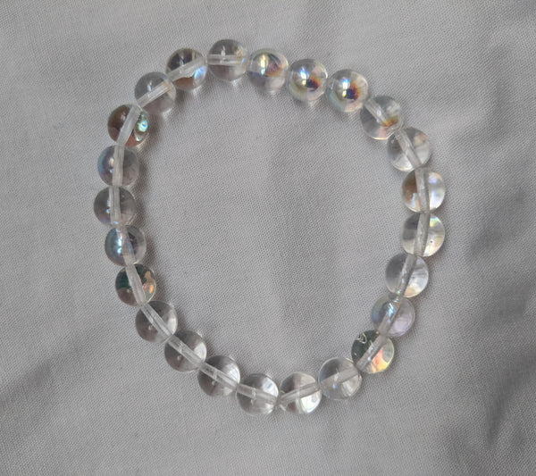 Unisex clear glass beads with elastic band size 8mm
