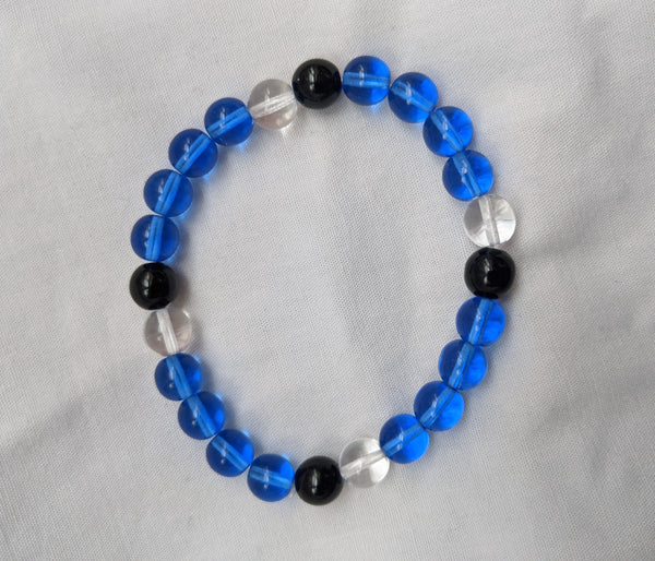 Unisex blue black clear glass beads with elastic band size 8mm