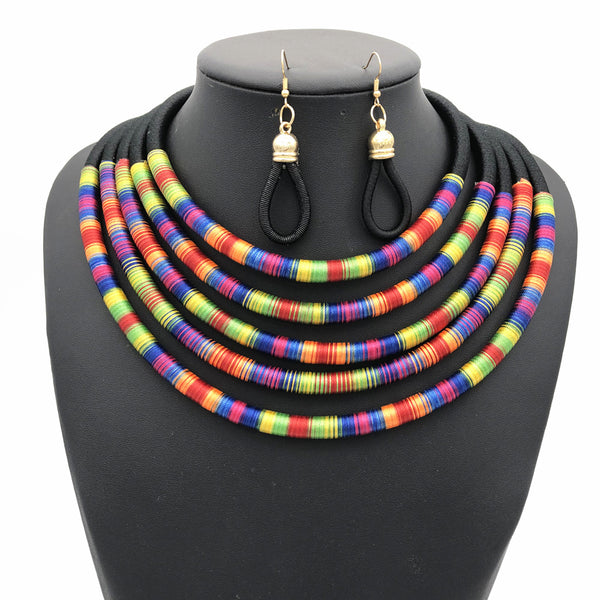 Black multilayer colorful fabric choker jewelry set