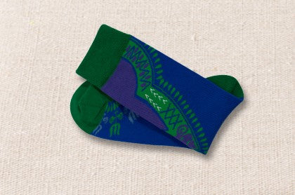 Unisex male female colorful cotton lycra good quality fabric green blue design socks