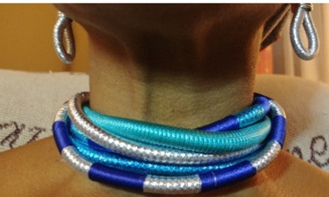Blue Silver multilayer fabric choker jewelry set