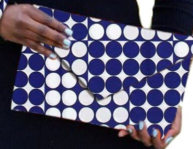 Blue White African Print Ankara cotton Fabric material Clutch bag. Matching earrings, bracelet and necklace sold separately.