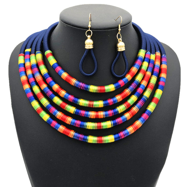 Blue multilayer colorful fabric choker jewelry set