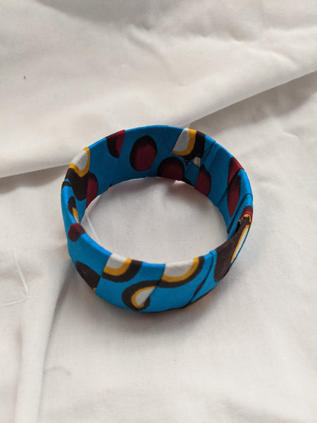 Colorful wide band Ankara cotton wrapped Fabric design yellow gold black white sky blue red bracelet bangle
