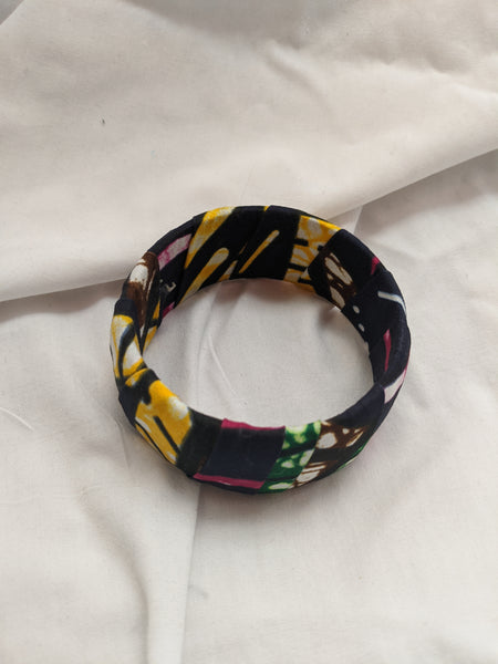 Colorful wide band Ankara cotton wrapped Fabric design yellow gold black white pink bracelet bangle