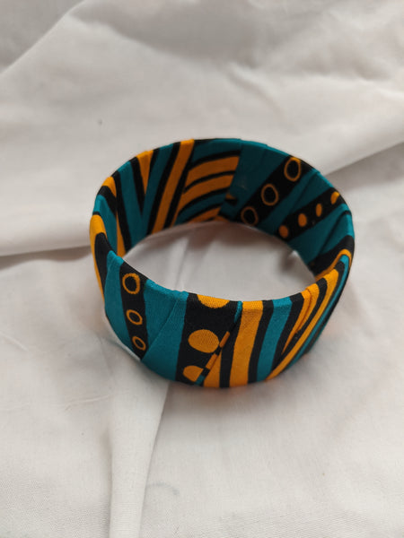 Colorful wide band Ankara cotton wrapped Fabric design yellow gold turquoise bracelet bangle