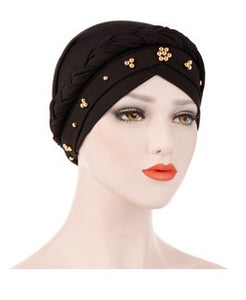 Black polyester and stretchable braided head cap with gold beads 5