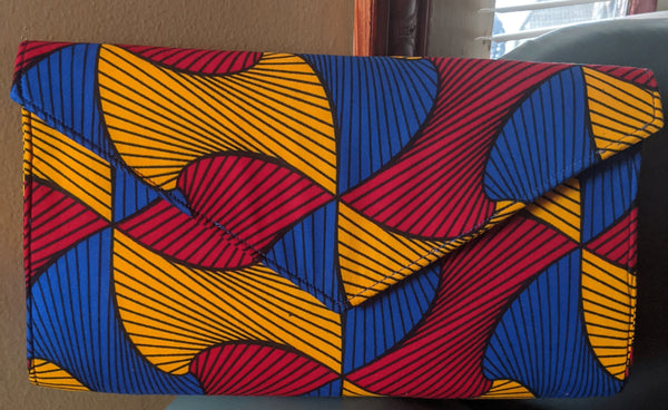 Blue Gold Red black African Print Ankara cotton Fabric material Clutch bag. Matching earrings, bracelet and necklace sold separately.