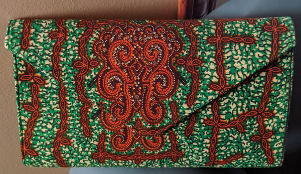 Green Burnt Orange African Print Ankara cotton Fabric material Clutch bag. Matching earrings, bracelet and necklace sold separately.