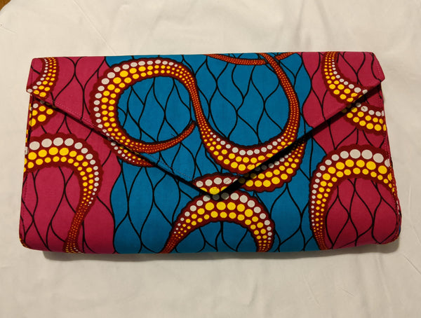 Hot Pink Blue white yellow gold African Print Ankara cotton Fabric material Clutch bag. Matching earrings, bracelet and necklace sold separately.