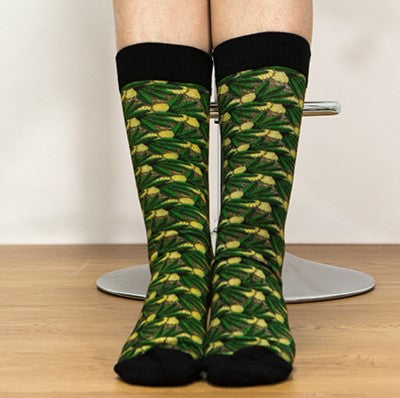 Unisex male female colorful cotton lycra good quality fabric green yellow black tropical leaves design socks