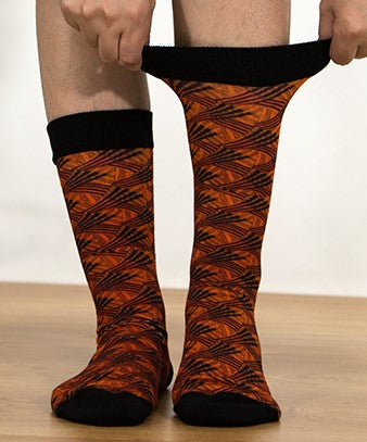 Unisex male female colorful cotton lycra good quality fabric orange black design socks