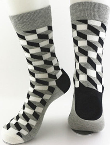 Unisex male female colorful cotton lycra good quality fabric black white gray design socks