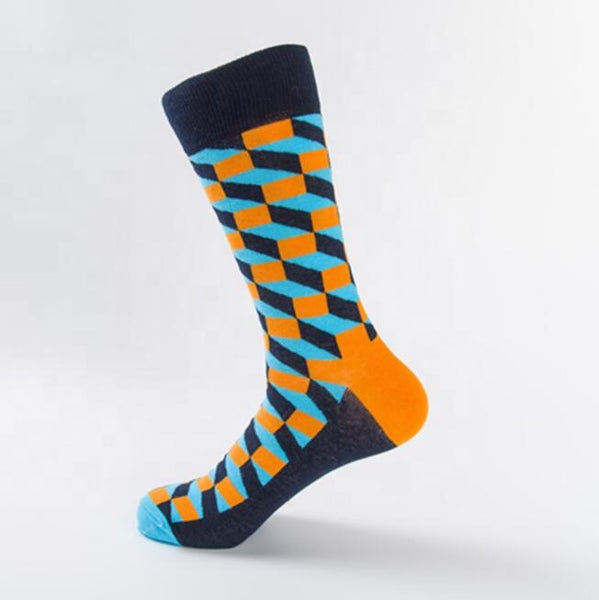 Unisex male female colorful cotton lycra good quality fabric navy blue sky blue orange design socks