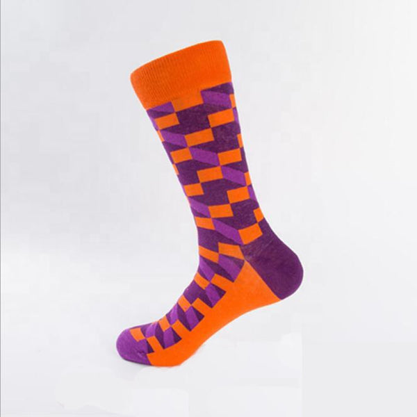 Unisex male female colorful cotton lycra good quality fabric orange purple design socks
