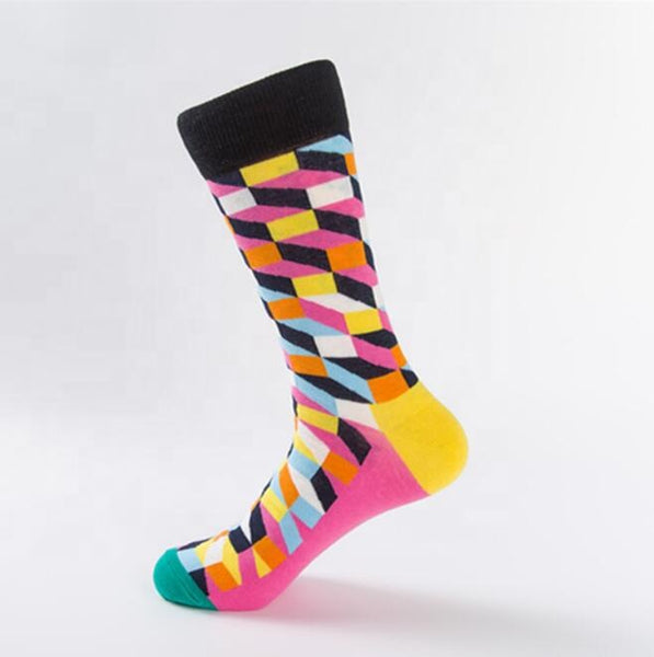 Unisex male female colorful cotton lycra good quality fabric gold yellow black white sky blue orange design socks