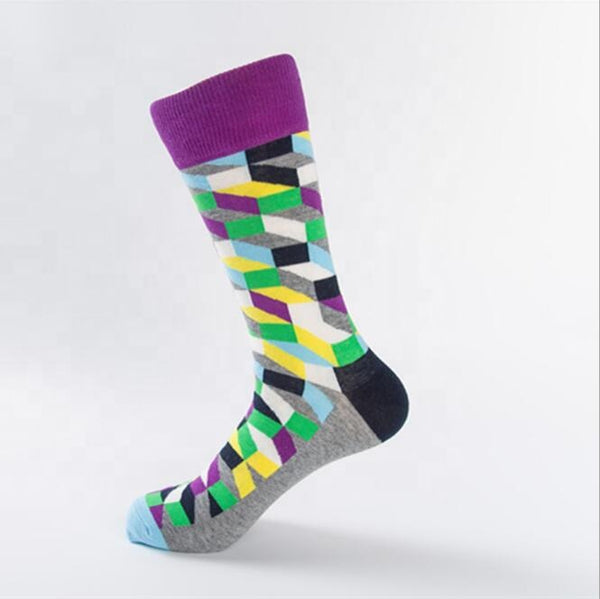 Unisex male female colorful cotton lycra good quality fabric gold yellow sky blue white black purple gray green design socks