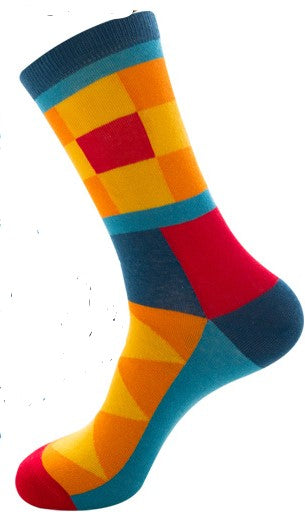 Unisex male female colorful cotton lycra good quality fabric gold yellow sky blue red orange design socks