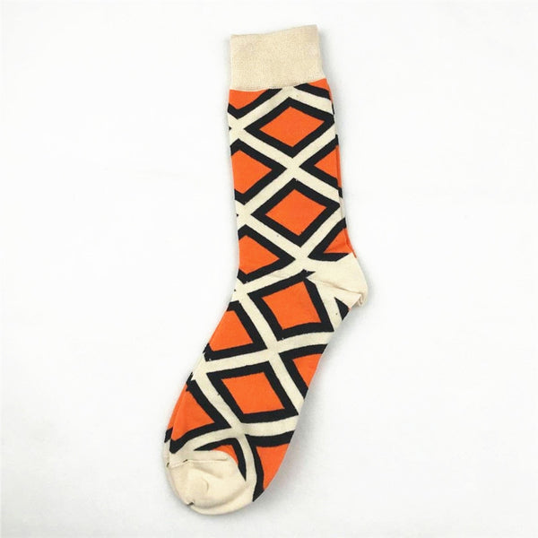 Unisex male female colorful cotton lycra good quality fabric off white orange black design socks