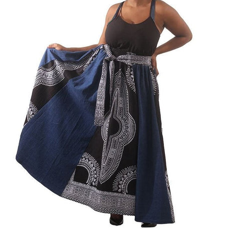 Denim Ankara cotton fabric maxi skirt with attached belt. Matching face mask sold separately
