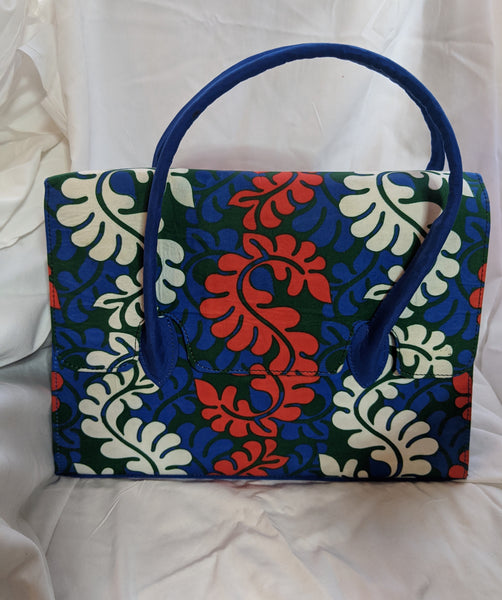 Ankara Cotton fabric handle hand bag pocketbook blue red white green