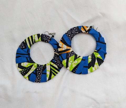 Colorful Ankara cotton wrapped Fabric extra large round flat Earrings pierced ears blue lime green black orange white