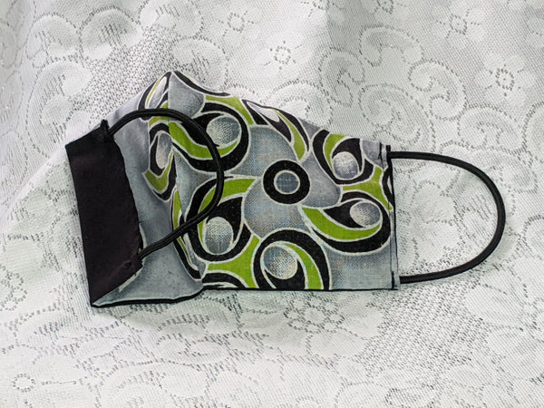 Colorful adult children face mask design 100% cotton, washable, reversible (one side design & other side solid color) and can insert your own filter, not provided.  3 options in 1 mask.  gray black white lime green