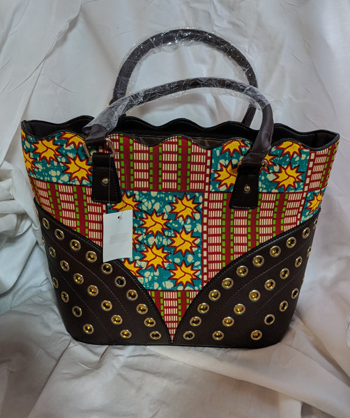 Ankara Cotton fabric synthetic leather handle gold circle metal hand bag pocketbook red green gold yellow brown white blue