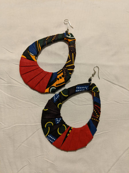 Colorful Ankara cotton wrapped Fabric extra large flat oval Earrings pierced ears red green yellow gold blue white
