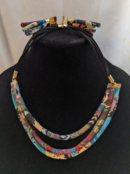 Acrylic fabric black material gold metal multi color jewelry set for pierced ears