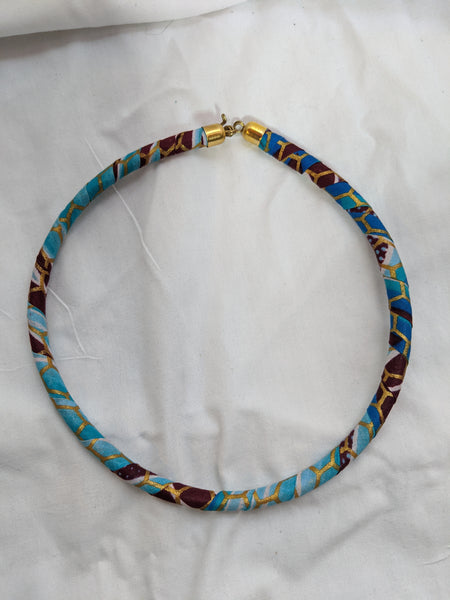 African Print Ankara cotton Fabric wrap material necklace blue gold white