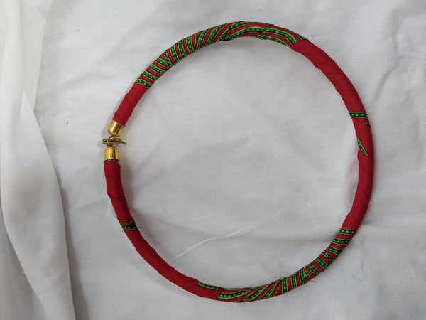 African Print Ankara cotton Fabric wrap material necklace red green